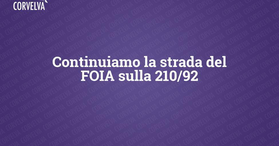 Nous continuons la route de la FOIA le 210/92