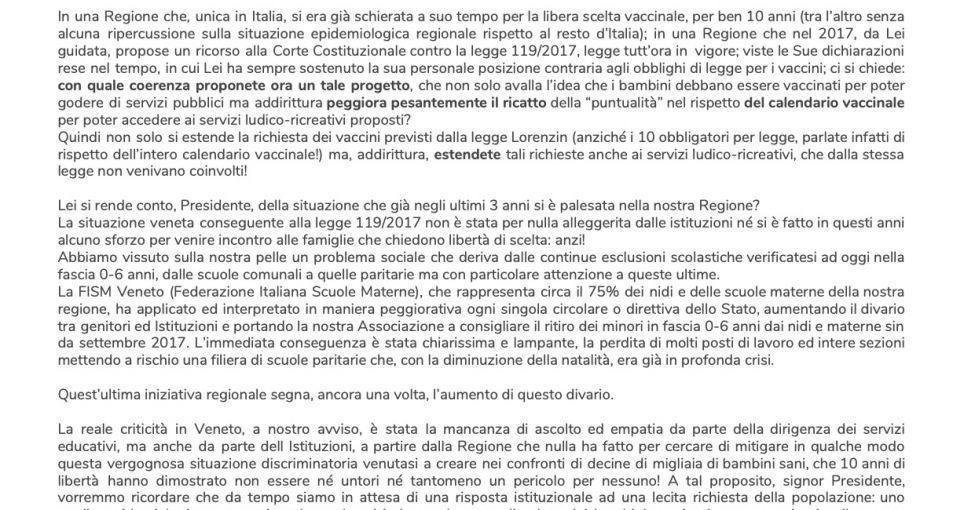 Открытое письмо президенту региона Венето