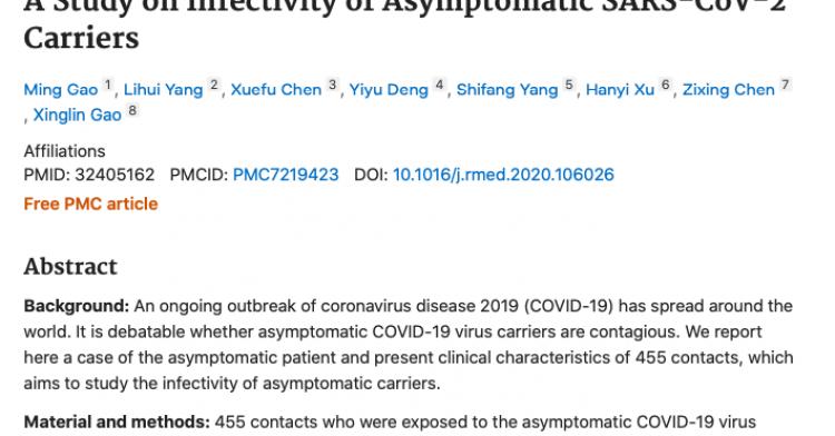 STUDY: ASYMPTOMATIC COVID-19 NON CONTAGIOUS