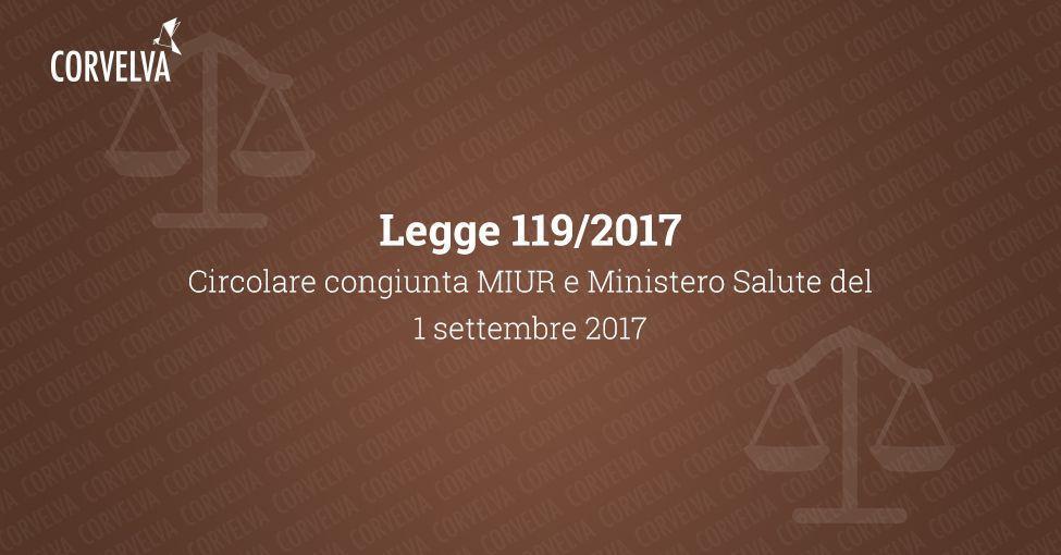 Circulaire conjointe MIUR et ministère de la Santé du 1er septembre 2017