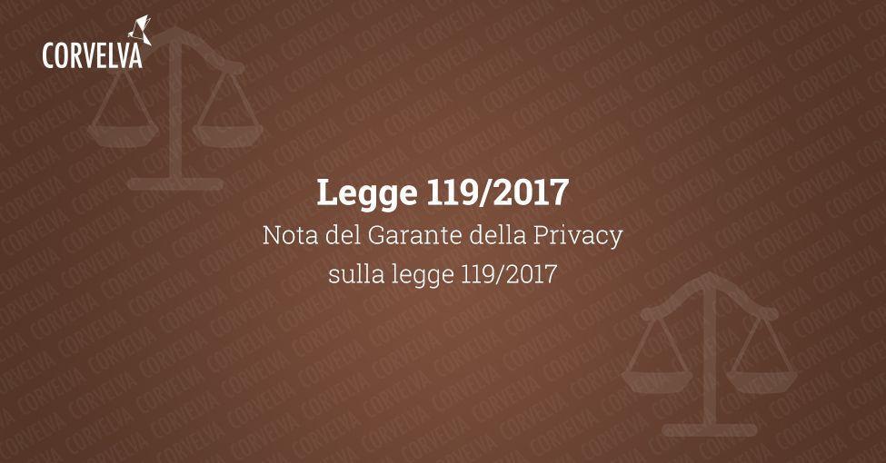 Примечание Гаранта конфиденциальности о законе 119/2017