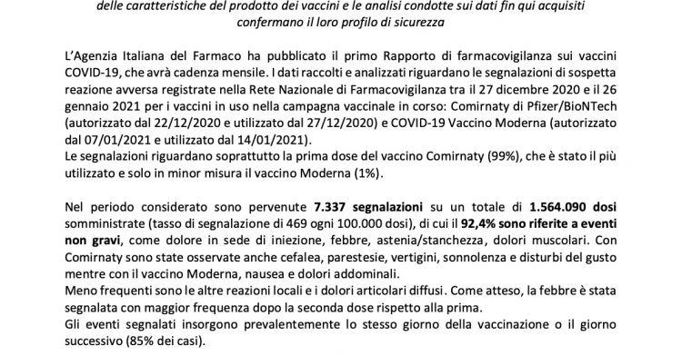 Aifa: first data on adverse events of covid-19 vaccines