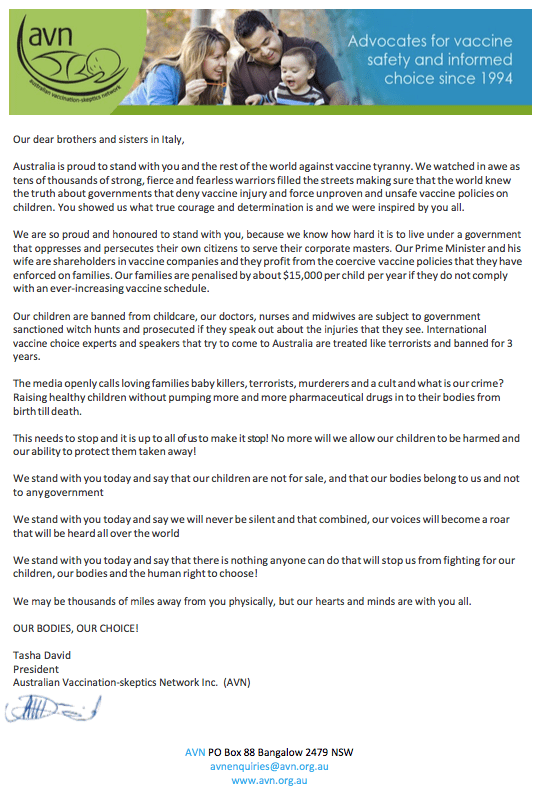خطاب التطعيم في أستراليا